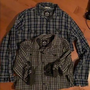 Blue and grey Express dress shirts.